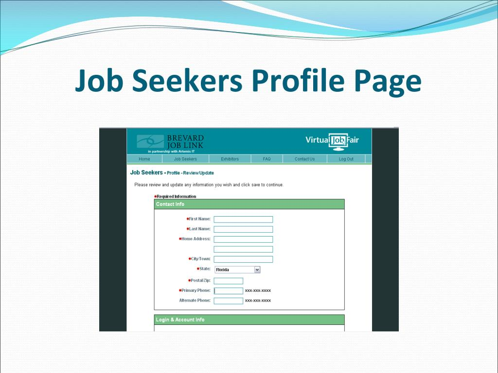 Job Seekers Profile Page