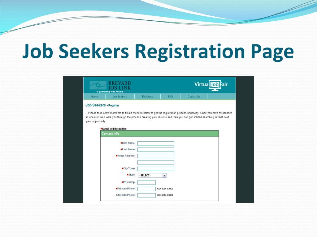 Job Seekers Registration Page