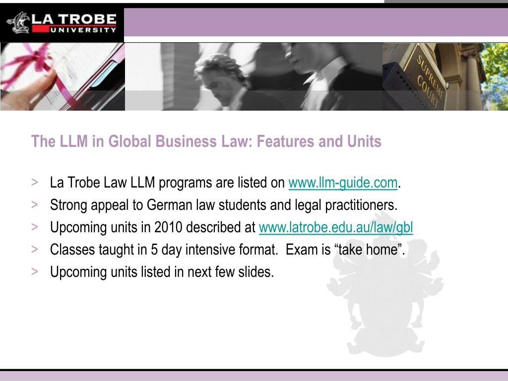 The LLM in Global Business Law: Features and Units