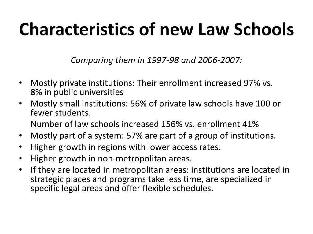 Characteristics of new Law Schools