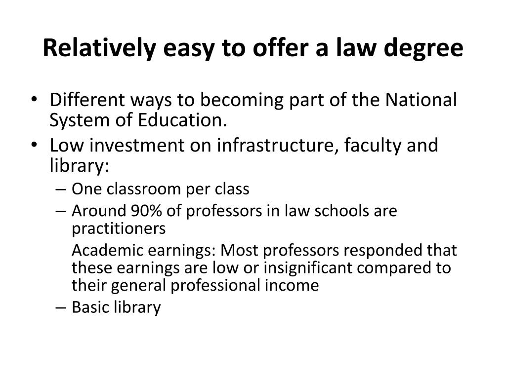 Relatively easy to offer a law degree