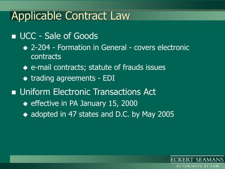 Applicable contract law