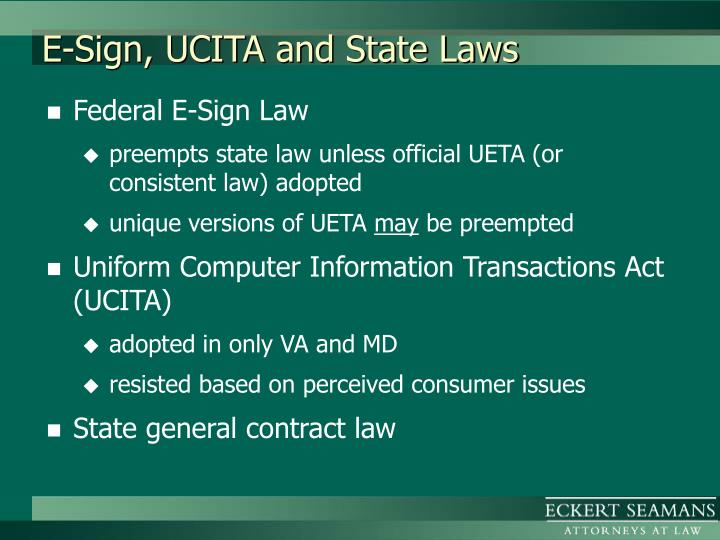 E sign ucita and state laws