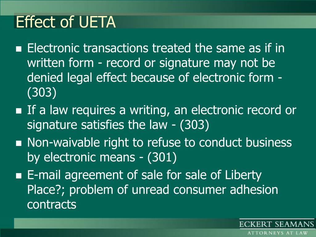 Effect of UETA