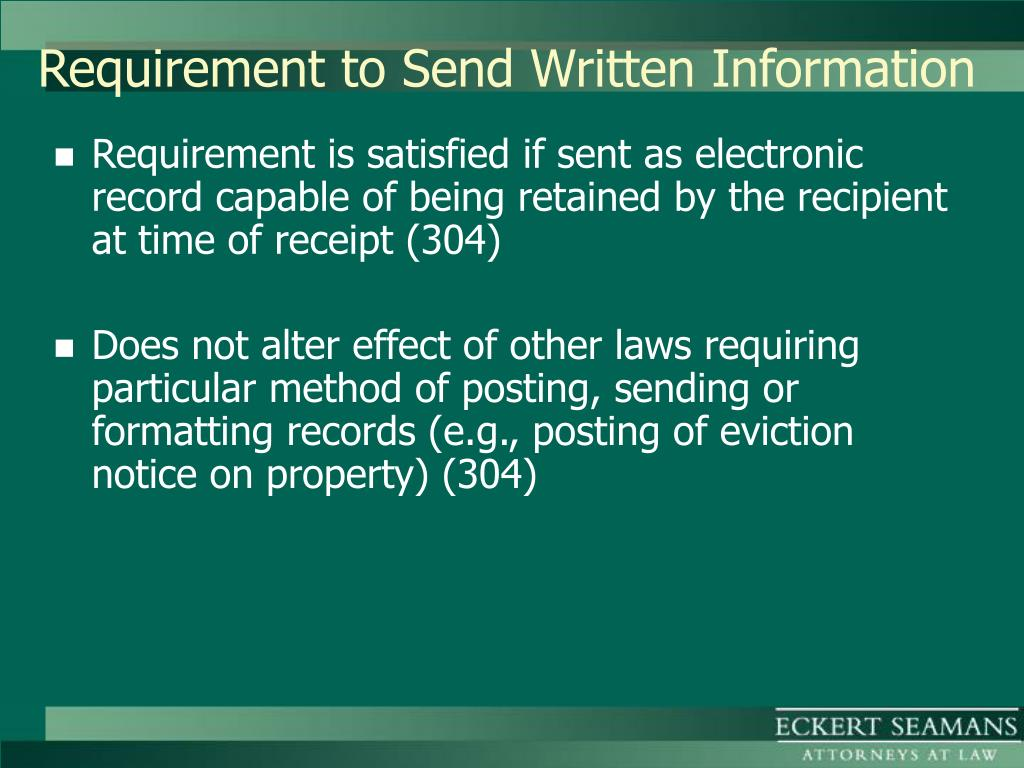 Requirement to Send Written Information