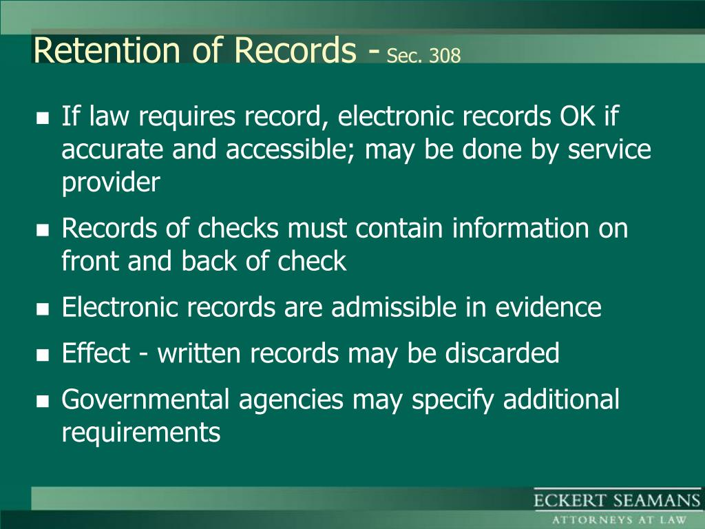 Retention of Records -