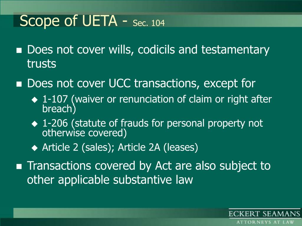 Scope of UETA -