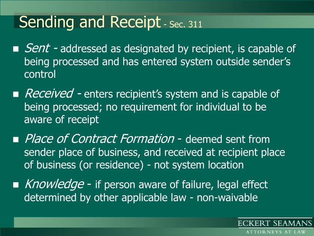 Sending and Receipt