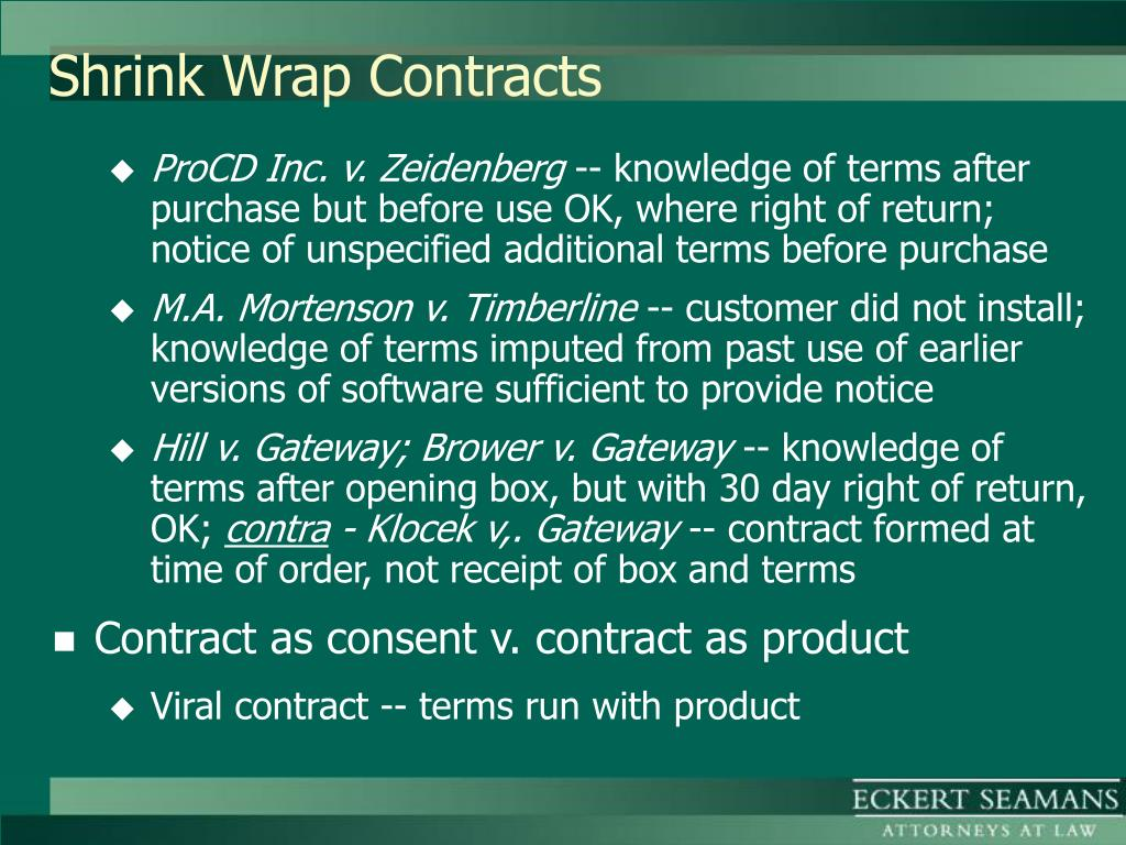 Shrink Wrap Contracts