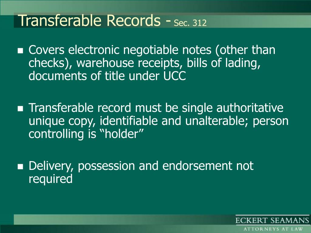 Transferable Records -