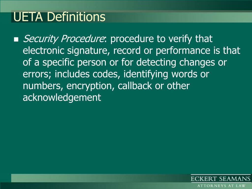 UETA Definitions