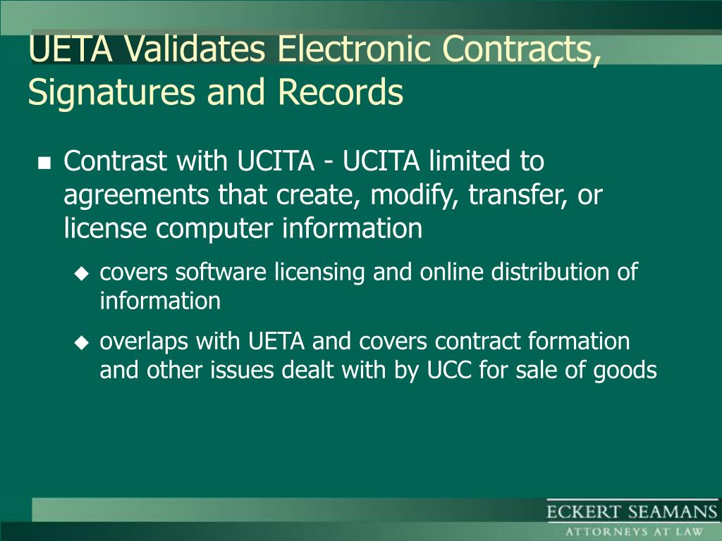 UETA Validates Electronic Contracts, Signatures and Records
