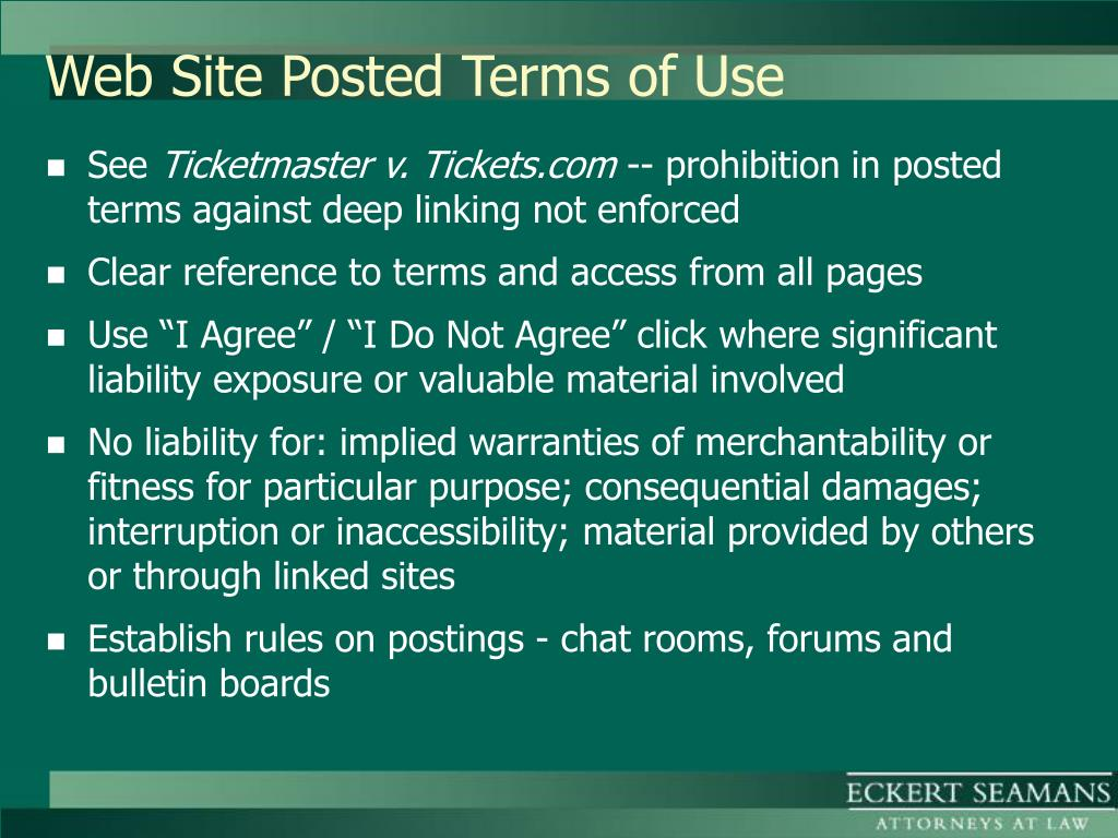 Web Site Posted Terms of Use