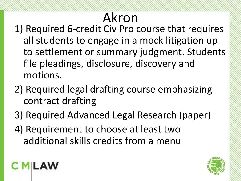 1) Required 6-credit Civ Pro course that requires all students to engage in a mock litigation up to settlement or summary judgment. Students file pleadings, disclosure, discovery and motions.
