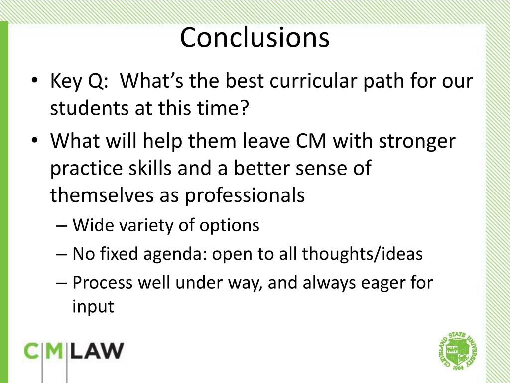 Key Q:  What's the best curricular path for our students at this time?