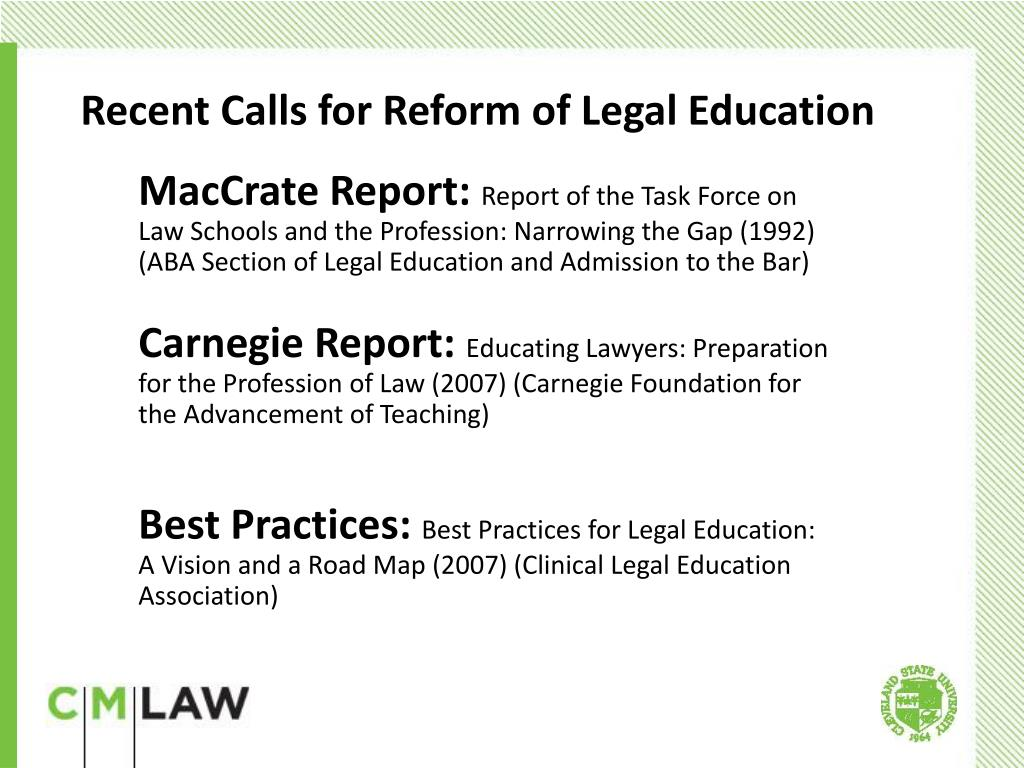 Recent Calls for Reform of Legal Education