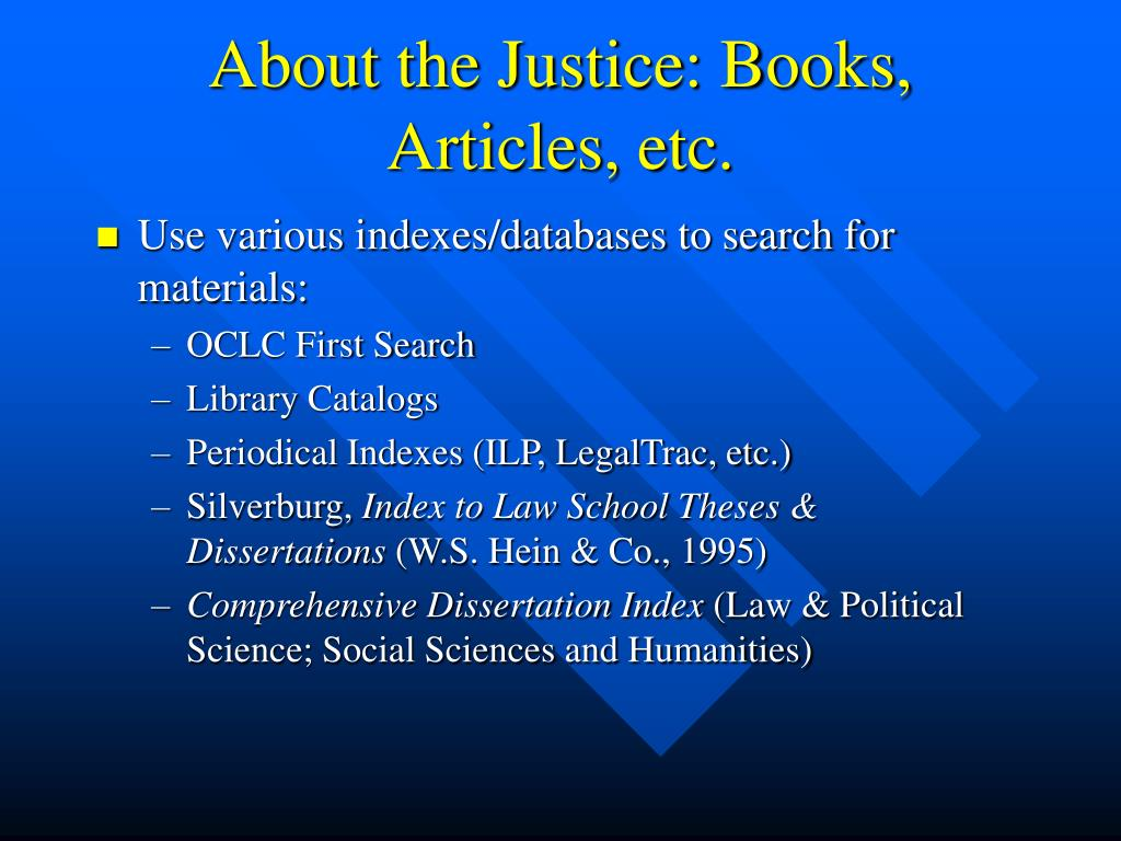 About the Justice: Books, Articles, etc.