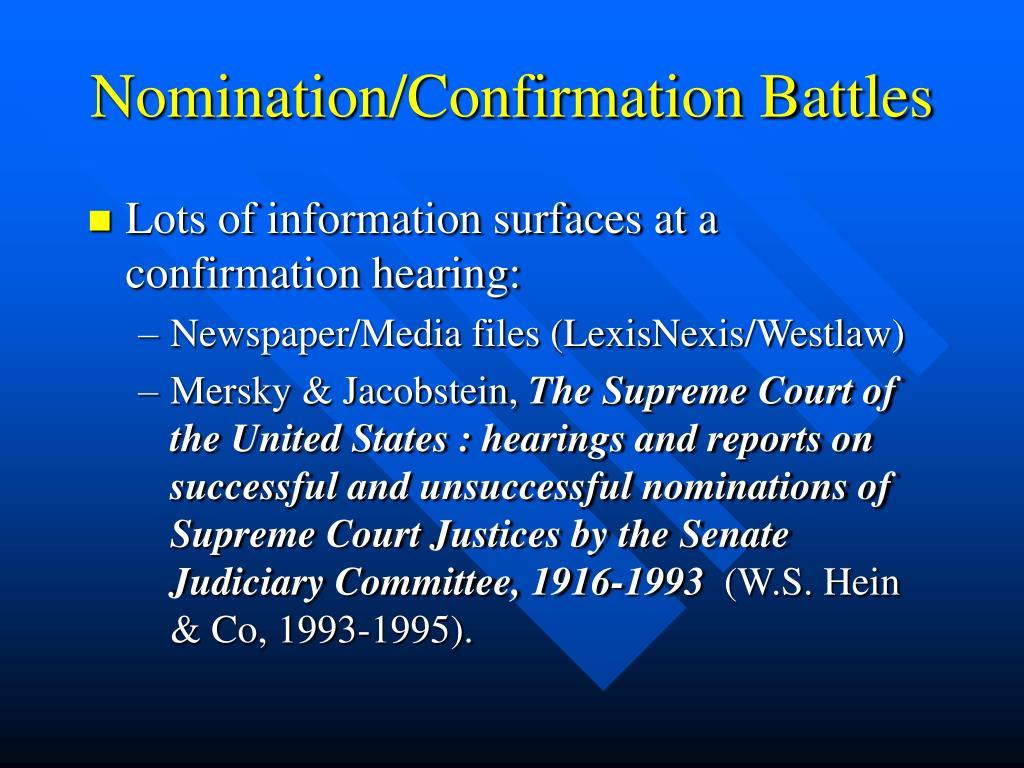 Nomination/Confirmation Battles