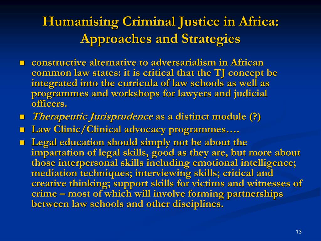 Humanising Criminal Justice in Africa: Approaches and Strategies