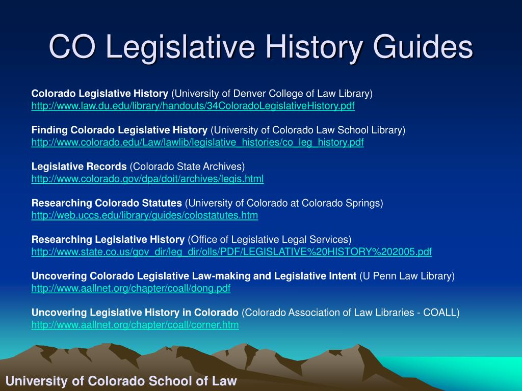 CO Legislative History Guides