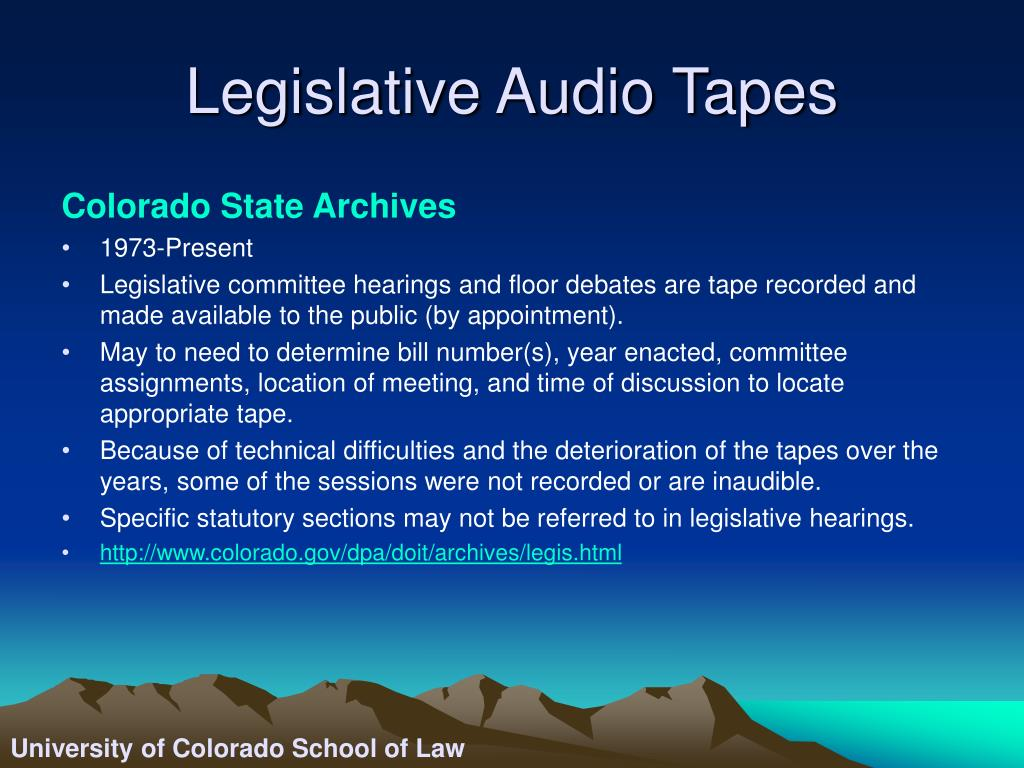 Legislative Audio Tapes