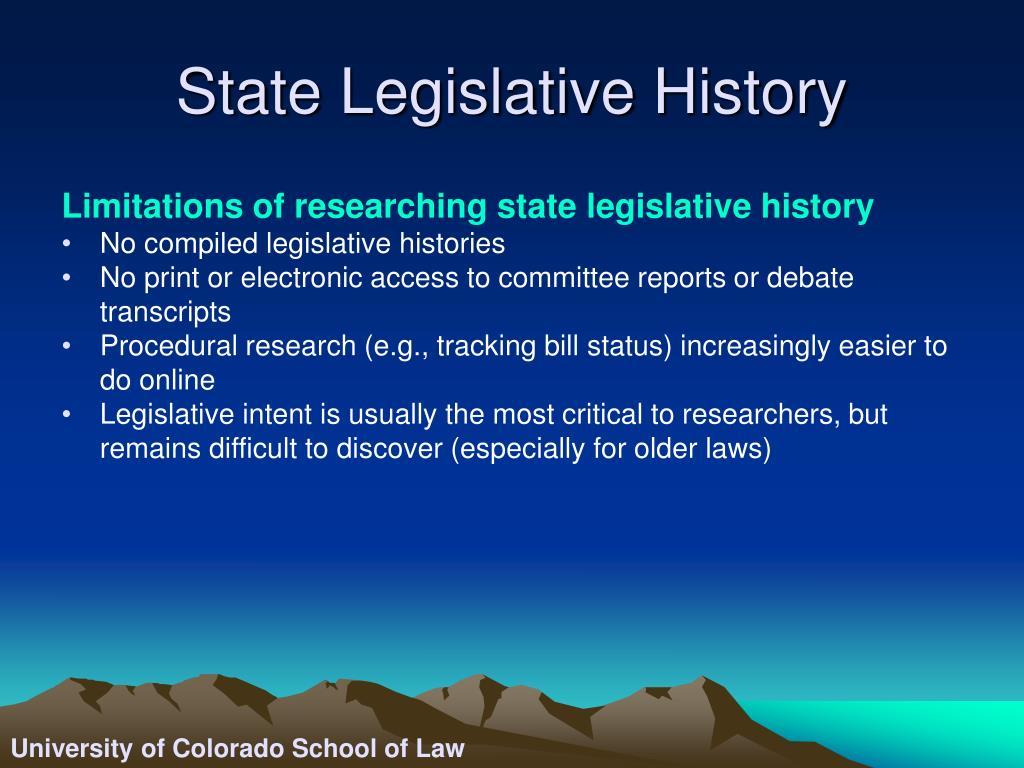 State Legislative History