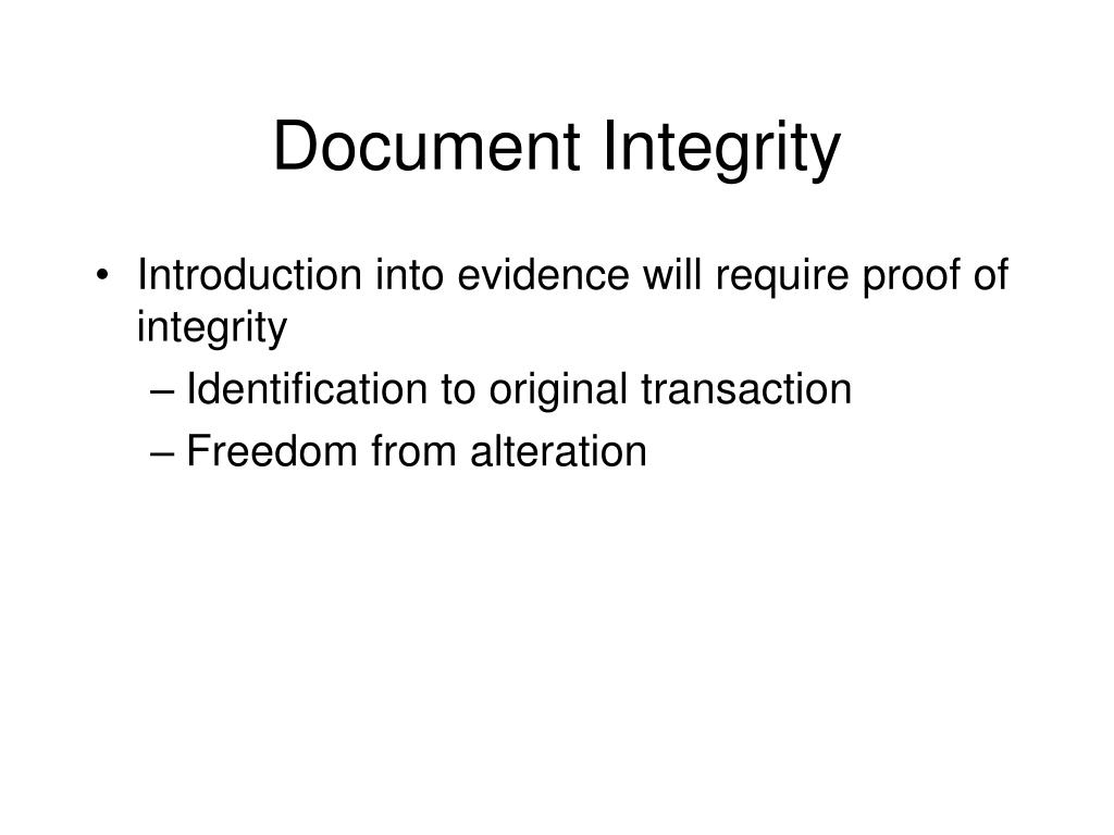 Document Integrity