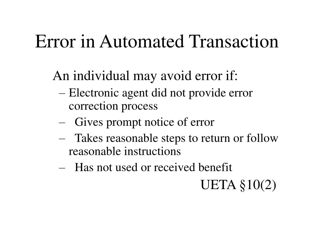 Error in Automated Transaction