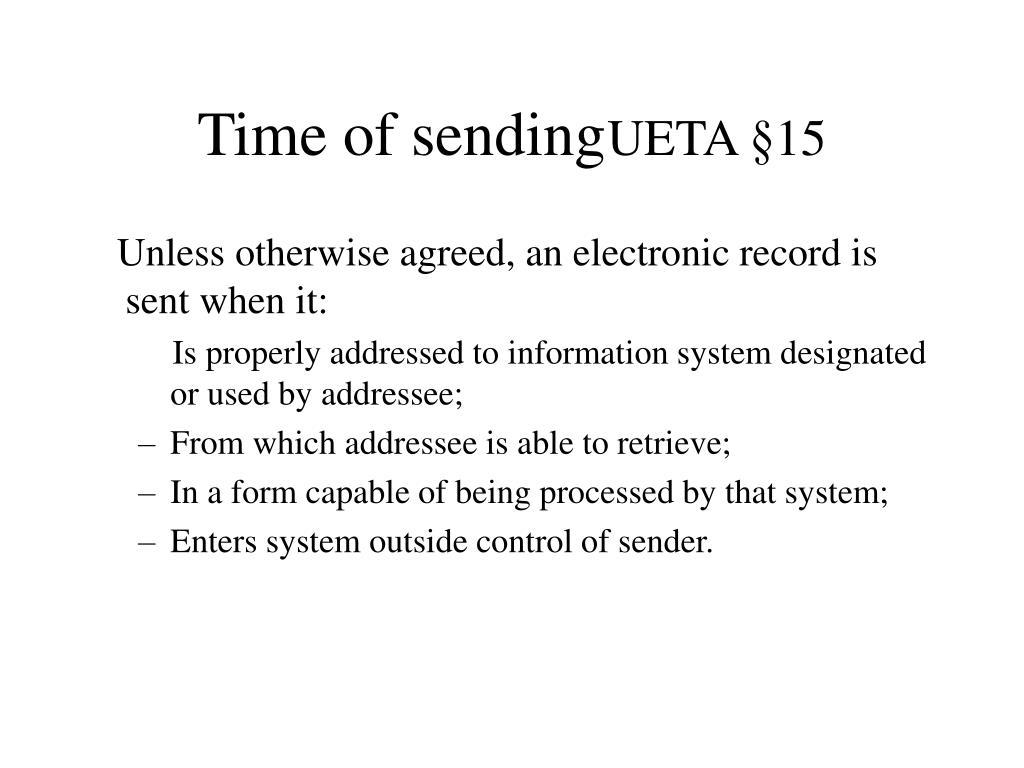 Time of sending