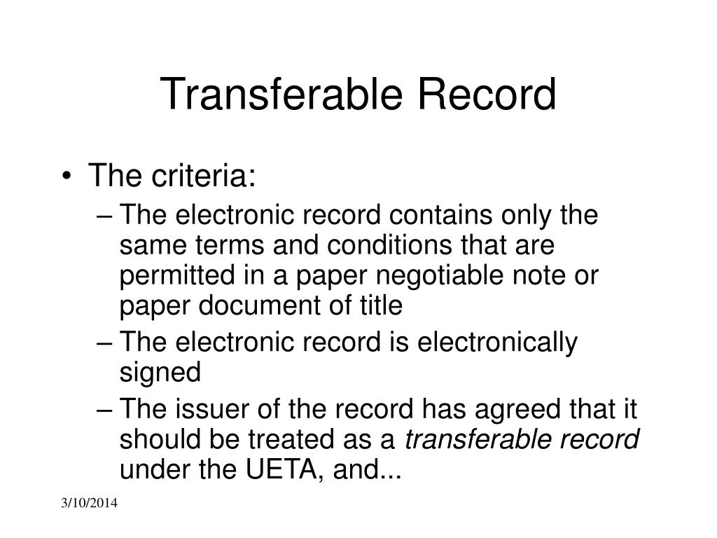 Transferable Record
