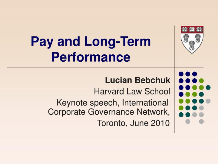 Pay and long term performance