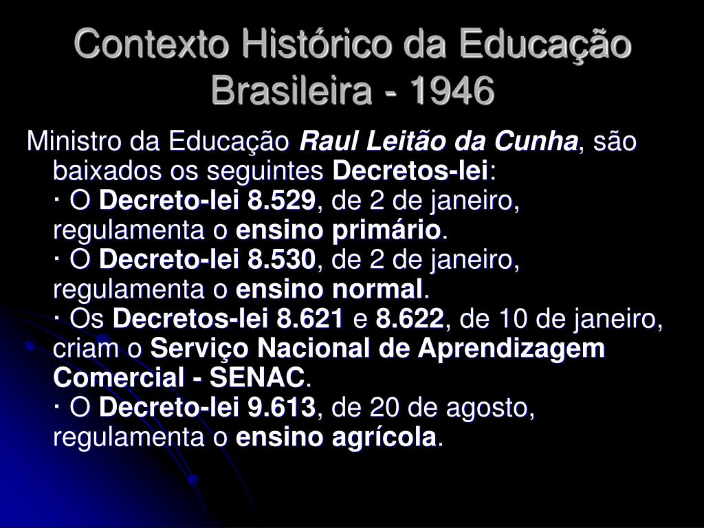 Contexto Histórico da Educação Brasileira - 1946