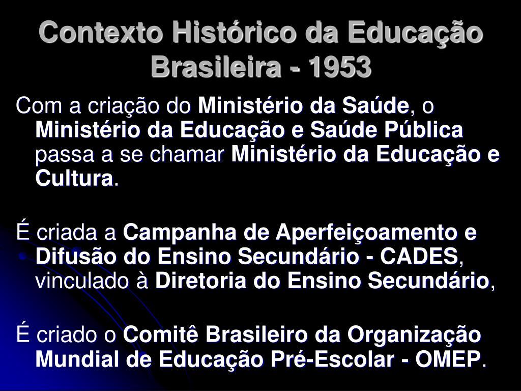 Contexto Histórico da Educação Brasileira - 1953
