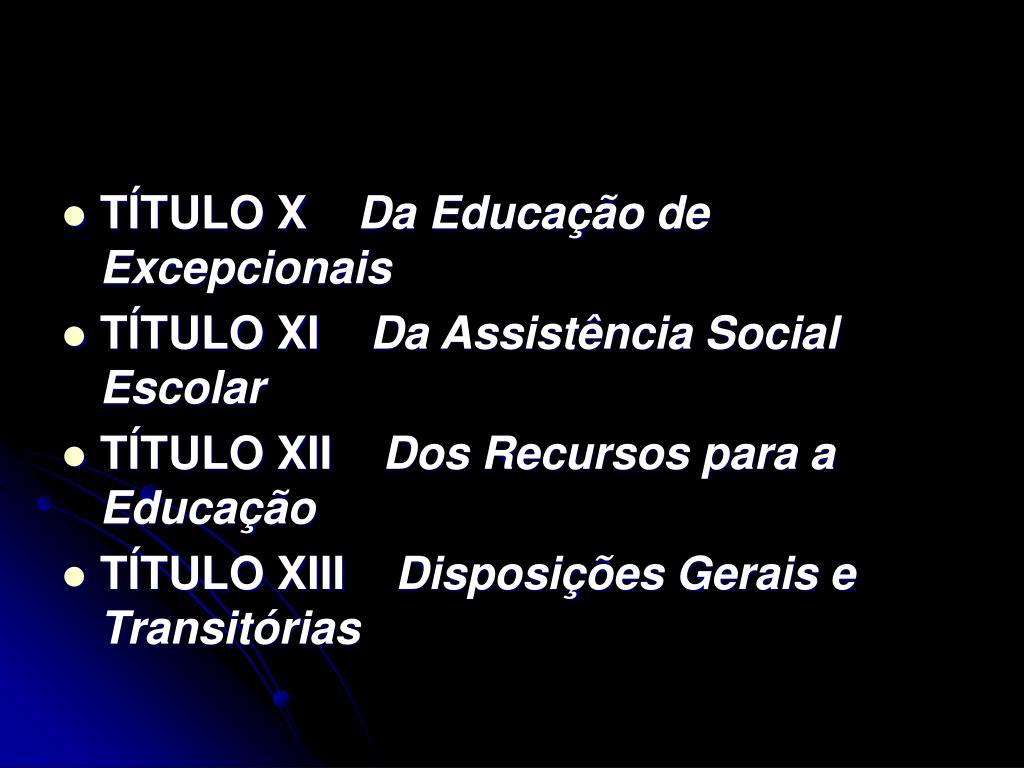 TÍTULO X