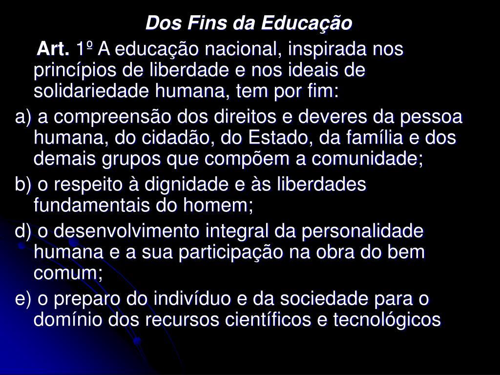 Dos Fins da Educação