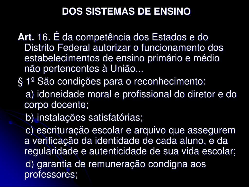 DOS SISTEMAS DE ENSINO