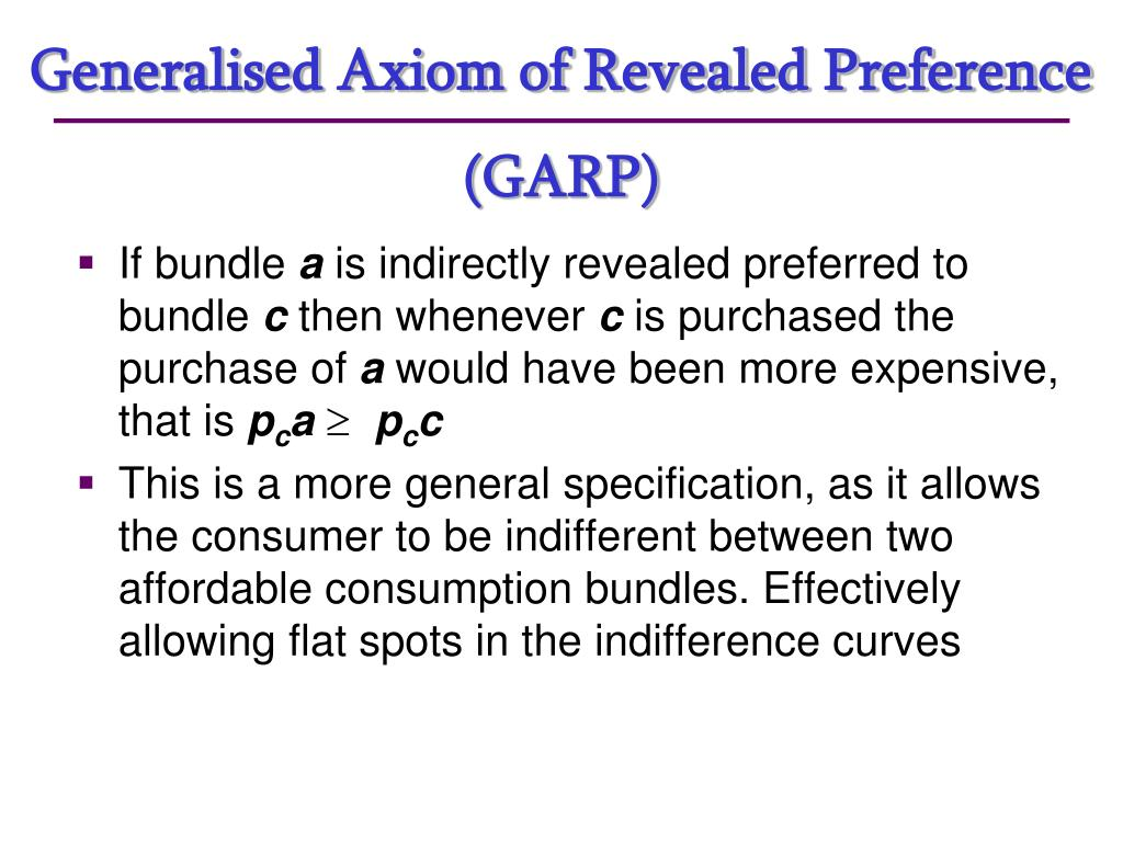 Generalised Axiom of Revealed Preference