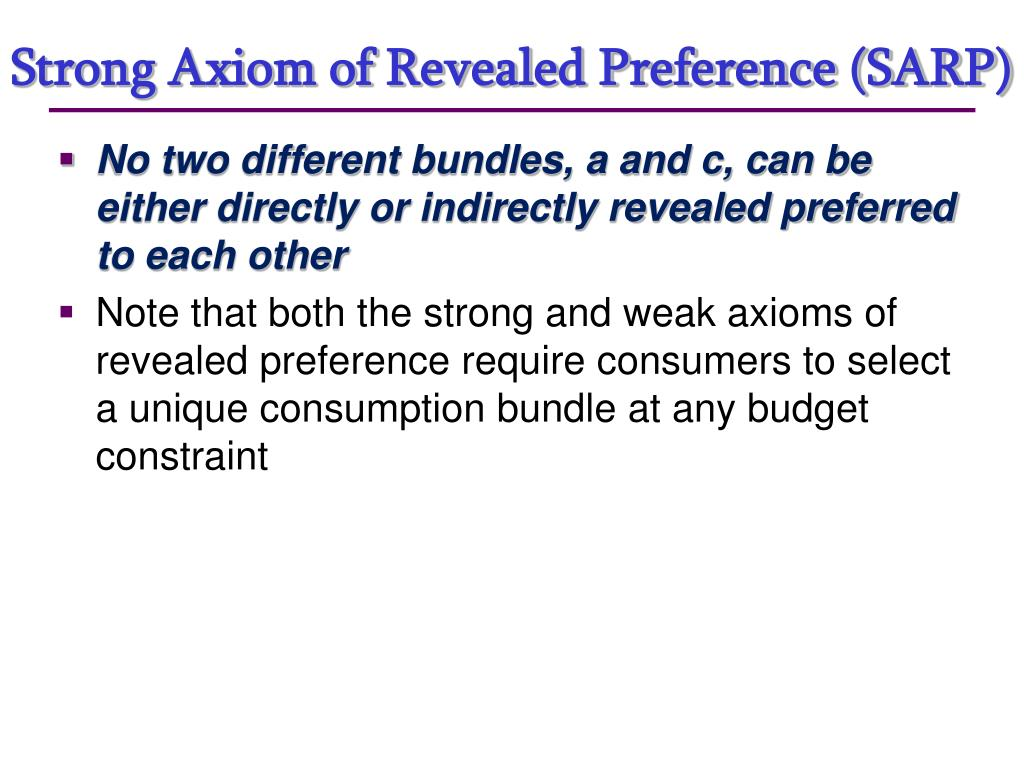 Strong Axiom of Revealed Preference (SARP)