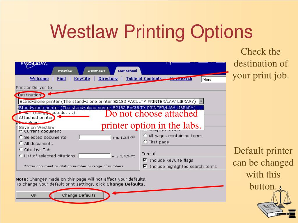 Westlaw Printing Options