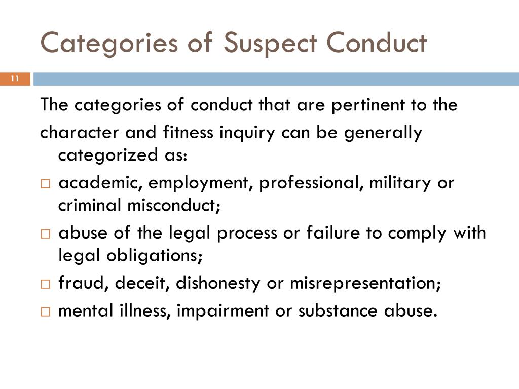 Categories of Suspect Conduct