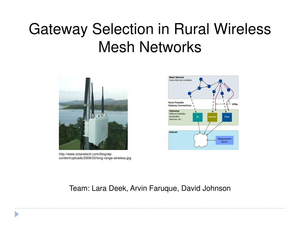 Gateway Selection in Rural Wireless Mesh Networks