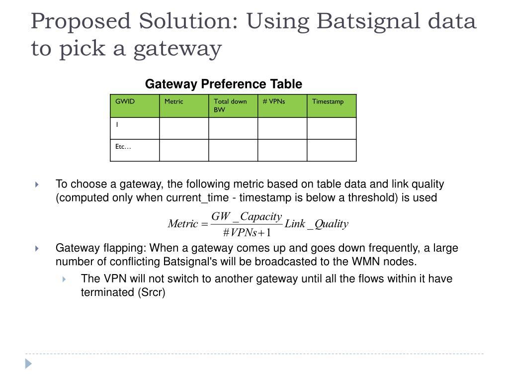 Proposed Solution: Using Batsignal data to pick a gateway