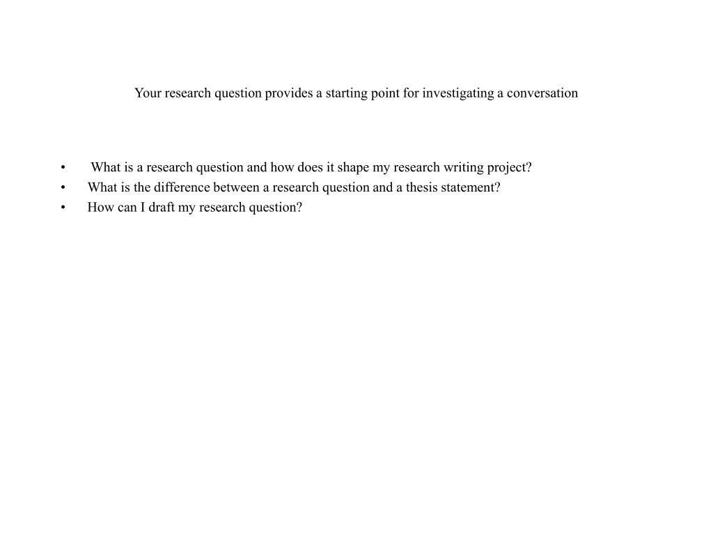 Your research question provides a starting point for investigating a conversation