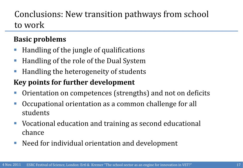 Conclusions: New transition pathways from school to work