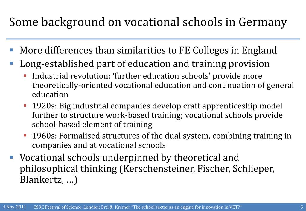 Some background on vocational schools in Germany