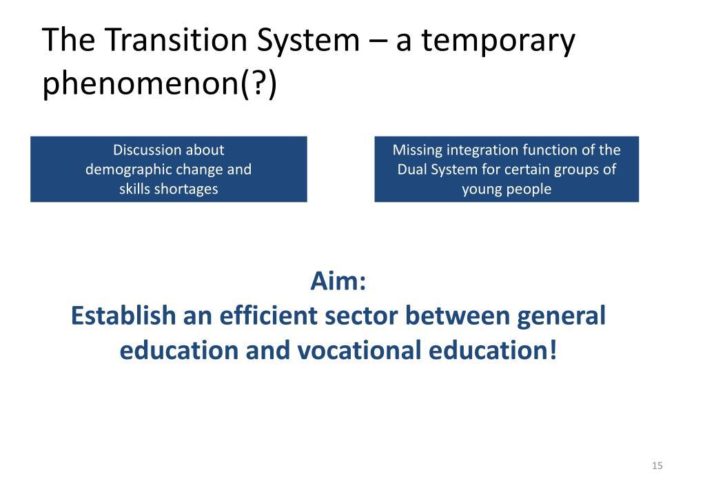 The Transition System – a temporary phenomenon(?)