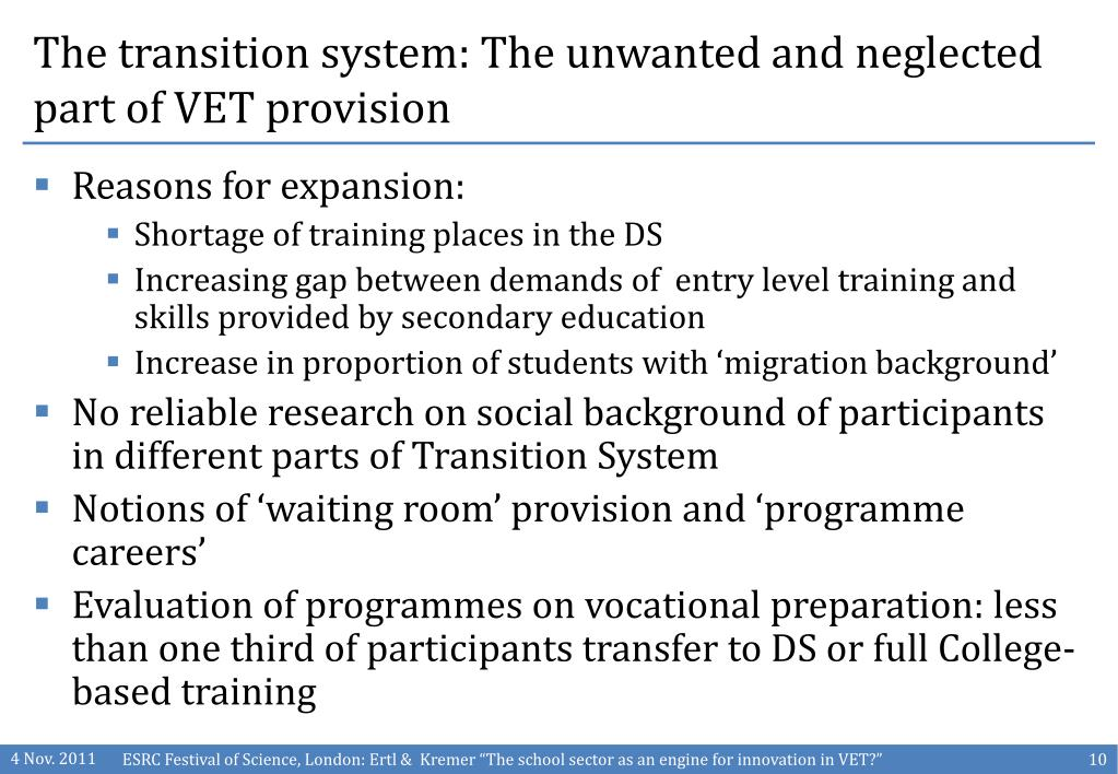 The transition system: The unwanted and neglected part of VET provision