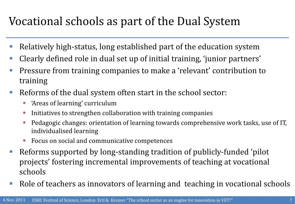 Vocational schools as part of the Dual System