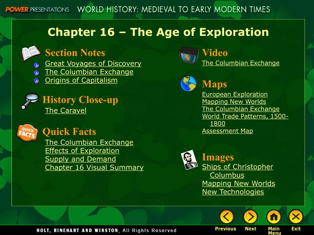 Chapter 16 – The Age of Exploration