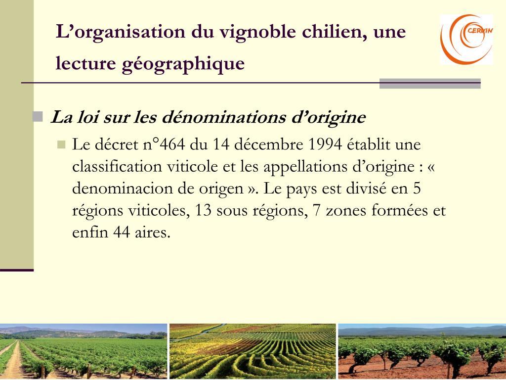 L'organisation du vignoble chilien, une